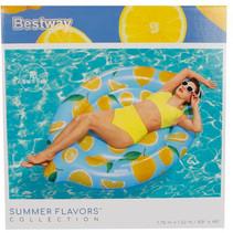 luchtbed Lemon junior 176 x 122 cm vinyl blauw/geel