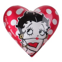 magneet hart Betty Boop 4 cm glas rood/wit