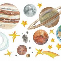 muursticker Planets 19,5 x 31,8 cm vinyl 26-delig