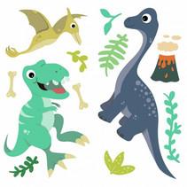 muursticker Friendly Dinosaur 24,4 cm vinyl 26-delig