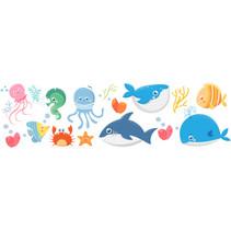 muursticker Sea Animals junior vinyl 16 stuks