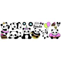 muursticker Panda meisjes vinyl zwart/wit 13 stuks