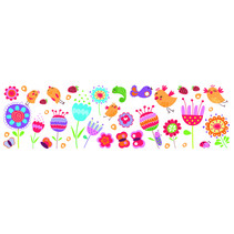 muursticker Birds & Flowers meisjesvinyl 35 stuks
