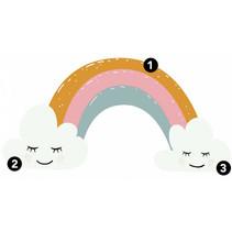 muursticker Rainbow Hearts 112 cm vinyl 47-delig