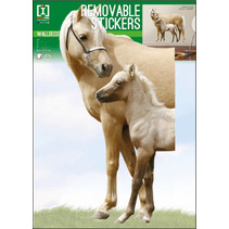 muurstickers Horses 50 x 70 cm PVC beige 2-delig
