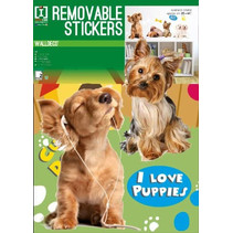 muurstickers Dogs junior A3 PVC bruin/wit 2-delig