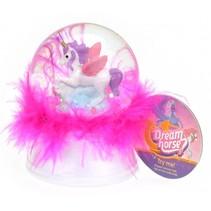 nachtlamp/sneeuwbol Dream Horse 9 cm led wit/roze