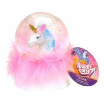 nachtlamp/sneeuwbol Dream Horse led 9 cm wit/roze