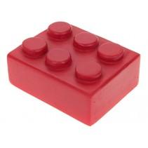 mini-legosteentje beeldje 5x4x3 cm rood