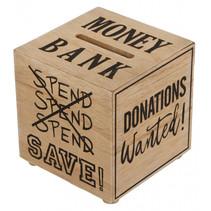 spaarpot kubus 12 x 12 x 12 cm hout naturel
