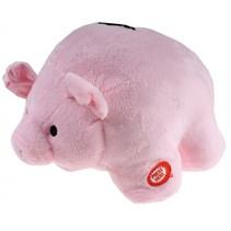 spaarvarken Piggy Bank pluche 17 cm roze