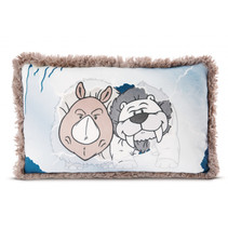 kussen neushoorn junior 25 x 43 cm polyester/pluche grijs