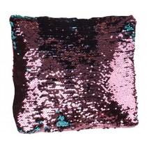 kussen met pailletten 29 cm roze