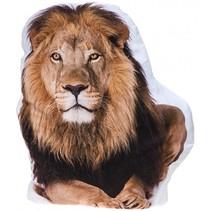 kussen leeuw wit/bruin 62 cm