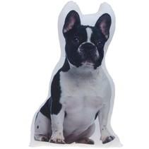 kussen Franse Bulldog wit/zwart 62 cm