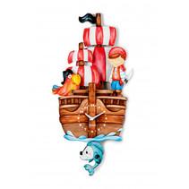 wandklok piratenboot junior 25 x 52 cm hout