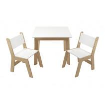 tafelset junior 60 x 48 cm hout wit/beige 3-delig