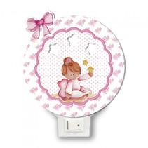 nachtlamp ballerina led meisjes 12 x 4 cm hout wit/roze