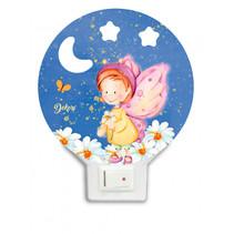 nachtlamp vlinder-fee led junior 12 x 4 cm hout