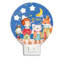 nachtlamp Pinokkio led feestje junior 12 x 4 cm hout