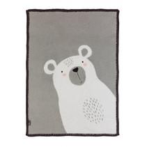 deken ijsbeer 140 cm katoen/pluche zwart/grijs