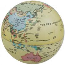 wereldbol led 14 cm PVC ivoorwit