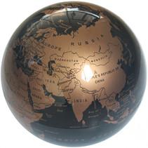 wereldbol led 14 cm PVC zwart/goud