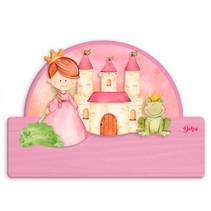 naambord prinsessenkasteel meisjes 25 x 16 cm hout 2-delig