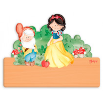 naambord Sneeuwwitje junior 25 x 16 cm hout 2-delig
