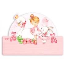 naambord ballerina meisjes 25 x 16 cm roze 2-delig
