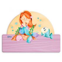 naambord zeemeermin meisjes 25 x 16 cm hout roze 2-delig