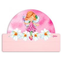 naambord fee 25 x 16 cm hout roze 2-delig