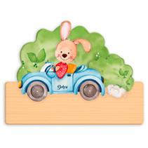 naambord konijn in auto 25 x 16 cm hout oranje/zwart 2-delig
