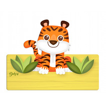 naambord tijger 25 x 16 cm hout oranje/zwart 2-delig