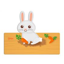 naambord konijn 25 x 16 cm hout grijs/bruin 2-delig