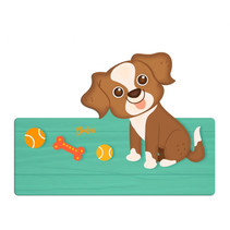 naambord puppy 25 x 16 cm hout bruin/wit 2-delig