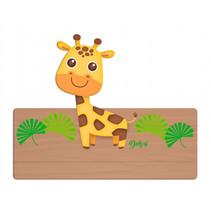 naambord giraffe 25 x 16 cm hout geel/bruin 2-delig