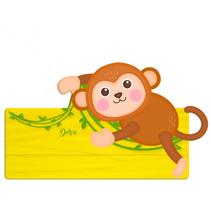 naambord aap junior 25 x 16 cm hout bruin/geel 2-delig