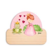 naambord prinses & kikker 12 x 17 cm hout roze/lichtbruin