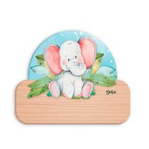 naambord olifant junior 12 x 17 cm hout grijs/lichtbruin