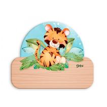 naambord tijger junior 12 x 17 cm hout oranje/lichtbruin