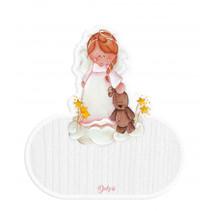 naambord engel meisjes 12 x 17 cm hout wit