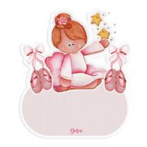 naambord ballerina meisjes 12 x 17 cm hout roze
