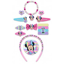 haaraccessoires Minnie Mouse roze/lichtblauw 14-delig