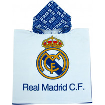 badponcho Real Madrid junior polyester blauw one-size