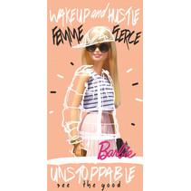 badlaken Barbie meisjes 70 x 140 katoen lichtroze