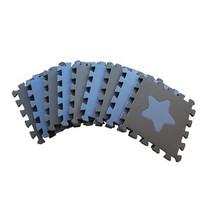 speelmat Geo junior 90 cm foam blauw/grijs 18-delig