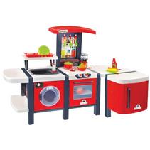 speelkeuken junior 141 x 68 cm rood/wit 29-delig