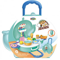 keuken trolley junior turquoise/blauw 27-delig