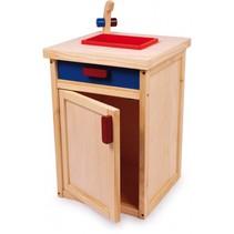 keukengootsteen hout 51 cm blauw/rood